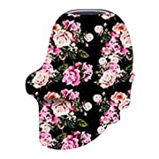 Bamboo Fabric Nursing Cover Scarf – Natural/Organic Black Floral Fabric – Doubles as a Infant Car Seat Canopy – Shopping Cart, Stroller & High Chair Cover – Multi-Use Infinity Shawl