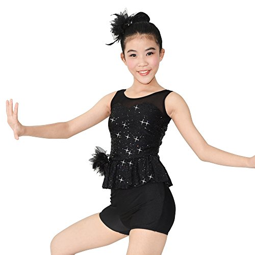 [MiDee Latin Dance Costume 4 Pieces Illusion Sweetheart Outfits For Girls (MC, Black)] (Illusion Dance Costumes)