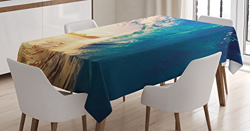 Ambesonne Ocean Tablecloth, Ocean Wave at Sunrise Reflection on Surface Tropical Trees Shoreline Summer Picture, Dining Room Kitchen Rectangular Table Cover, 60 W X 90 L inches, Teal Yellow (Shoreline Cover Womens)