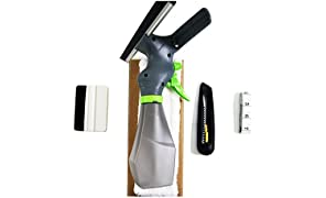 HIDBEA Installation Tool Cut Film Easy Window Cleaner, Microfiber Pad, Squeegee Scrubber, Spray Bottle, Tape Measure, Utility Knife, Complete Glass Tint Application Kit, White