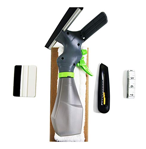 HIDBEA Installation Tool Cut Film Easy Window Cleaner, Microfiber Pad, Squeegee Scrubber, Spray Bottle, Tape Measure, Utility Knife, Complete Glass Tint Application Kit, White (Window Shade Pole)