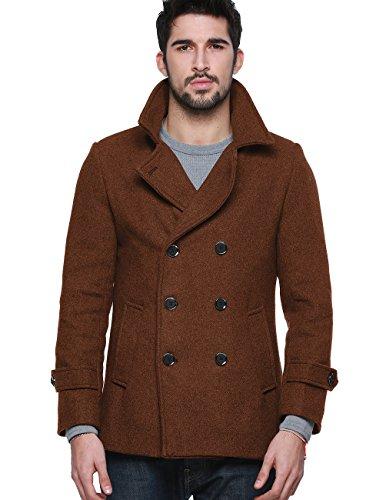 Duffle Coat Jacket - Match Mens Wool Blend Classic Pea Coat Winter Coats(010, Brown Medium)