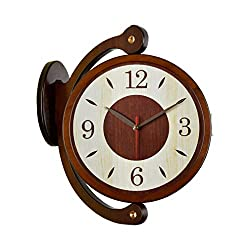 Fengfeng Double Sided Clocks, European Two-Sided Silent Solid Wood Bracket Clock Creative Living Room Wall Clock Retro Bedroom Wall Bell