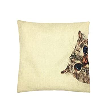 YOUR SMILE Cat Cotton Linen Square Decorative Throw Pillow Case Cushion Cover 18x18 Inch(44CM*44CM) (Color#0)