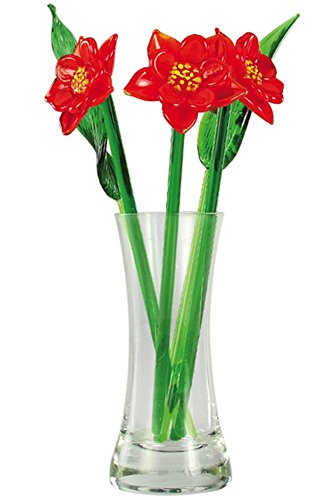 Crystal Glass Lovely Flower Bouquet with Vase, Gift Boxed - Poinsettias