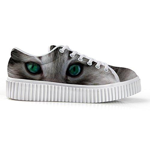 Face 3D Printg Animal Cat4 Fashion Platform Shoes HUGSIDEA Sneakers Low Top CqwtR44x