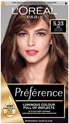 LOreal Preference tinte permanente para el cabello, 5.23 Chocolate Oro Rosa Marrón