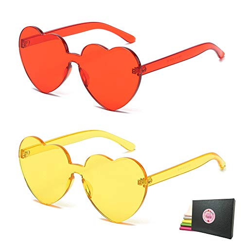 Shades Rimless - Heart Transparent Multicolor Party Favors Big Rimless Sunglasses for Women (Red + Yellow)