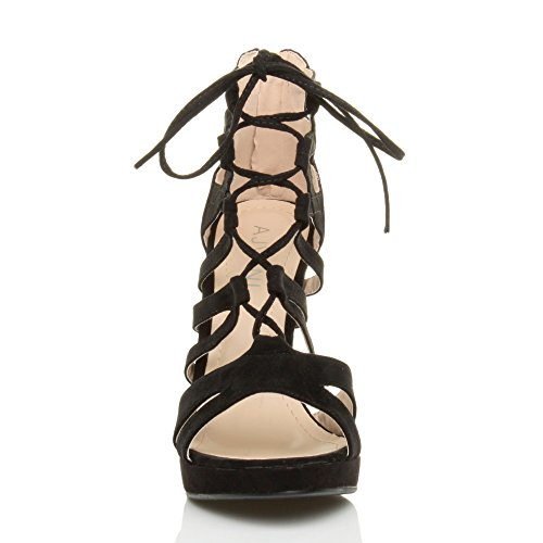 Suede Ajvani Heel Lace Ladies Women Sandals Ghillie up High Black Size 6F1qwvn6