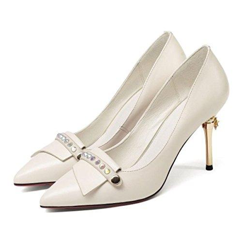 Haut Élégant Noir Fête Talon Dames Court Cuir Toe Chaussures Partie Stiletto De Beige Beige Pointu De Mariage Pompes Chaussures En Bureau rArxwqUOI