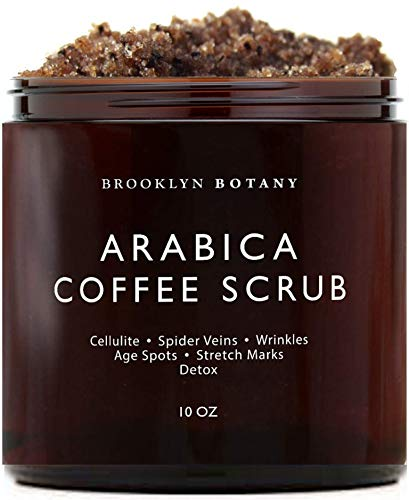 Brooklyn Botany - Arabica Coffee Scrub -100% Natural - with Coconut and Shea Butter - Best Anti Cellulite and Stretch Mark Treatment, Spider Vein Therapy for Varicose Veins & Eczema - 10 oz Best Coffee Scrubs