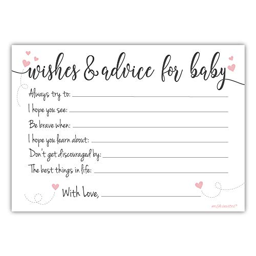 50 Count Sweet Heart Baby Shower Wishes and Advice for Baby Cards