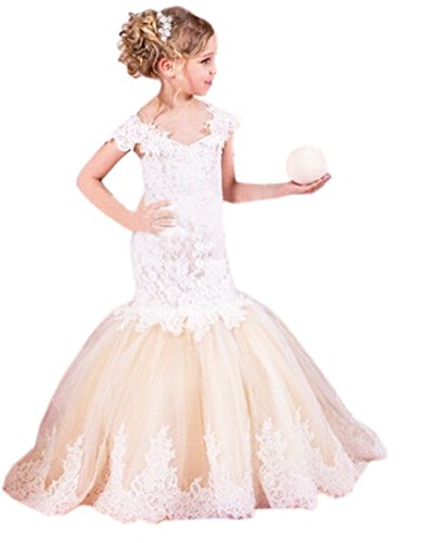 Beautyfudre Girls' Off the Shoulder Lace Mermaid Pageant Gown Flower Girl Dress for Kids Children Champagne Age13 by Beautyfudre