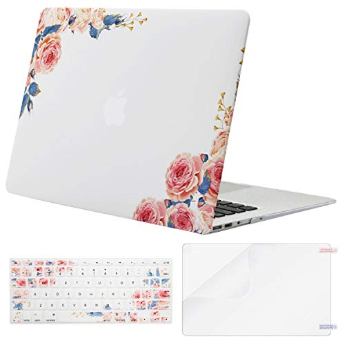 MOSISO MacBook Air 13 inch Case(A1369 A1466,Older Version 2010-2017 Release),Plastic Flower Pattern Hard Shell&Keyboard Cover&Screen Protector Only Compatible with MacBook Air 13,Pink Peony White Base