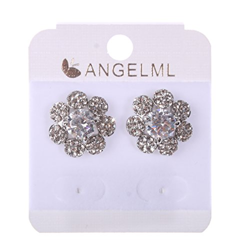 Big Dragonfly Shining Flower Shape Rhinestone Jewelry Crystal Stud Earrings (Silver)