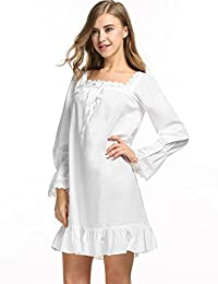 Avidlove Womens Nightdress Cotton Long Sleeve Embroidered Victorian Nightshirt