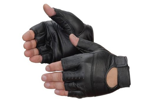 Liberty 6887BK/FL Goatskin Leather Fingerless Weight Lifting Glove, Large, Black (Pack of 12) ()
