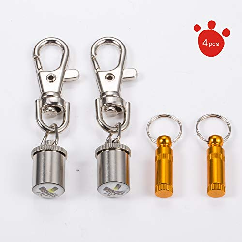 LED Light Flashing pet cat Dog Night Anti-Lost Safety Warning Light and Stainless Steel pet id tag Barrel (Cat)