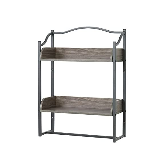 Zenna Home 8712GY 2-Tier Metal Bathroom Wall Shelf, Driftwood Grey/Pewter - Two shelves provide room for shampoo, soap, conditioner, decorative Accessories and more Pewter metal frame is paired with driftwood-colored wood shelves Sturdy frame is attractive and rust resistant - wall-shelves, living-room-furniture, living-room - 41Vgz3460xL. SS570  -