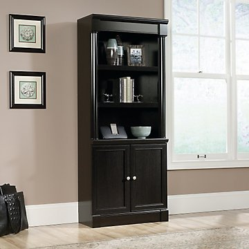 Avenue Eight Bookcase with Doors - 29''W x 72''H(Dark Wind Oak Laminate Finish) by OFF1