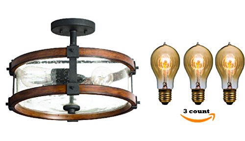 Semi Flush Mount Ceiling Light With Edison Light Bulb by Kichler With 3 Extra Free Matching Edison Vintage Bulbs (Distressed Black Ceiling Mounts)