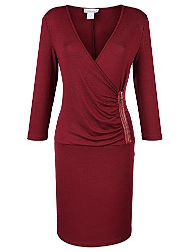 Reißverschluss Ausschnitt Jerseykleid Damen Burgund Ausschnitt Damen Figurnah KARA Figurnah KIM V Jerseykleid V Reißverschluss qvXwpAA