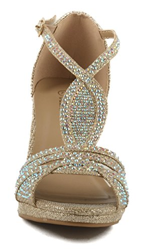 Rhinestone Champagne Strappy Heel 94 Women's Buckle Excited Formal Delicacy Women's Open Toe cOaPx8
