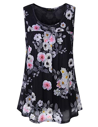 Vafloy Casual Sleeveless Round Neck Loose Fit Printed Blouses for Pregnant Women Mesh Tank Tops with Joggers Go to Work Plus Size Multi-Black L