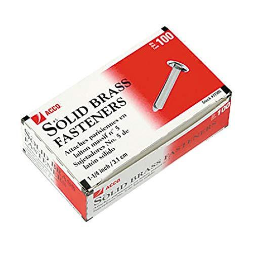 ACCO Brass Paper Fasteners, 1-1/4, Plated, 1 Box, 100 Fasteners/Box (71711)