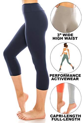 (ShyCloset High Waisted Yoga Leggings - Capri & Ankle Full Length Basic Plain Soft Slim Tight Pants (Plus Size, Capri - Navy))