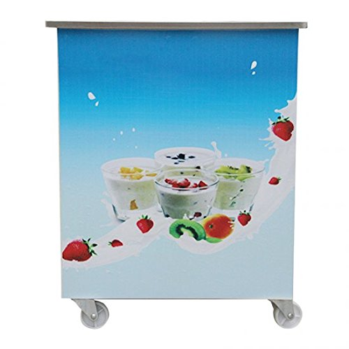 Genmine Fried Ice Cream Machine, Single Round Pan Fried Ice Cream Roll Maker Pan Diameter 14.2'' Commercial Fried Milk Yogurt Machine by Genmine (Image #1)