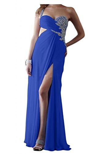 Toscana un-hombro elegante de la novia por la noche vestidos de dama de honor de ranura la gasa bola Prom vestidos de fiesta largo Azul Real