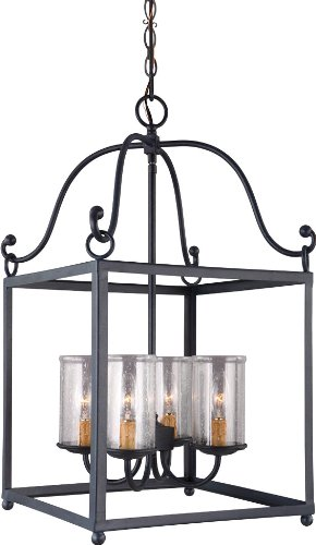 Feiss F2907/4AF Declaration Glass Candle Chandelier Lighting, Iron, 4-Light (15