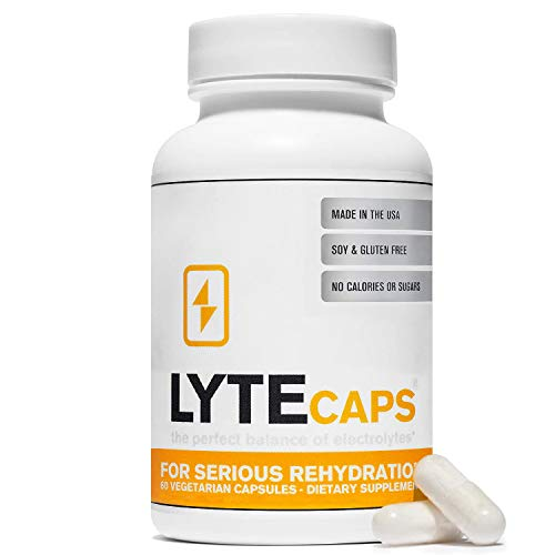 LyteCaps Electrolyte Tablets – 60 Vegetarian Capsules – for Serious Rehydration and Cramps, Dehydration – Magnesium…