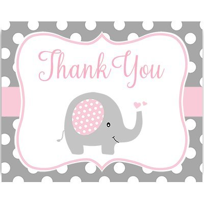 Baby Shower Thank You Cards, Polka Dots, Elephant, Pink, Girls, Set