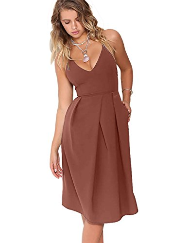 Eliacher Women's Deep V Neck Adjustable Spaghetti Straps Summer Dress Sleeveless Sexy Backless Party Dresses with Pocket (XS, Brick) ()