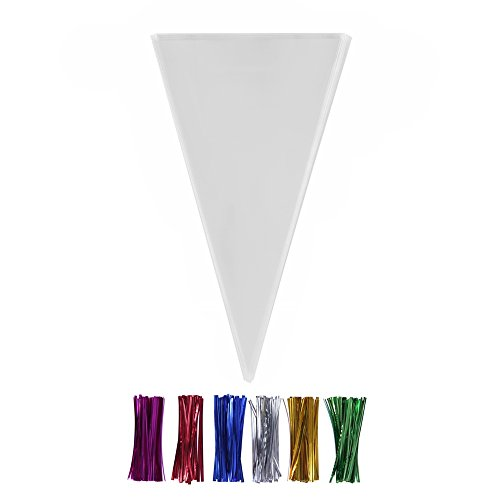 (200 Clear Cone Shaped Treat Bags with Twist Ties 4'' - 1.4 mils Thick OPP Plastic Cello Bags Triangle for Favor Christmas Candy Popcorn (12'' x)