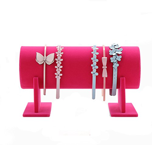 - Glittermall Hot Pink Color Velvet Separate Detachable Jewelry Headband Hair Hoop Hairband Hair Clasp Holder Display Stand Rack Organizer