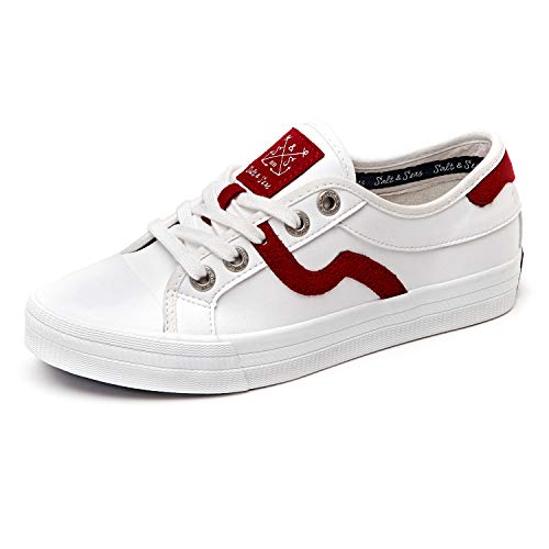 (Women Adults Fashion Sneakers Low Top Lace Up Casual Shoes Red)