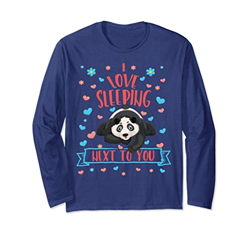 Unisex Valentine's Day I Love Sleeping Next To You Panda Bear Shirt Medium Navy (Next Day Holiday)