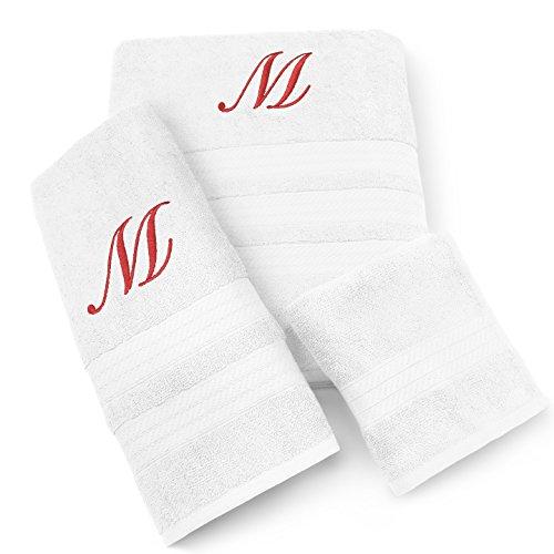 (KAUFMAN - MILAN 3 PIECE WHITE TOWEL SET WITH RED MONOGRAM (V))
