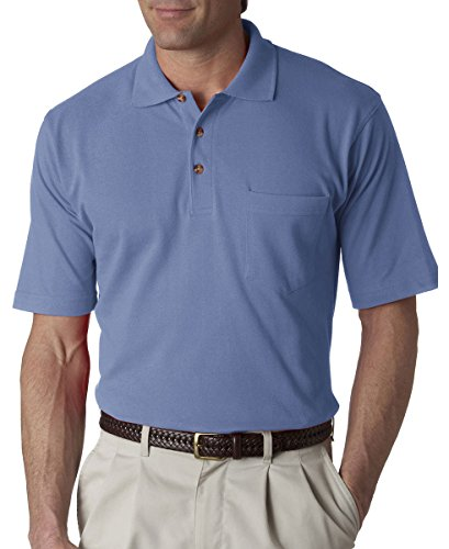 UltraClub Men's Classic Pique Polo Shirt with Pocket,  Small - Cornflower