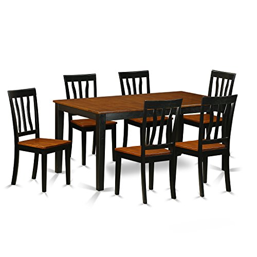 East West Furniture NIAN7-BCH-W 7 Piece Table and 6 Chairs Set