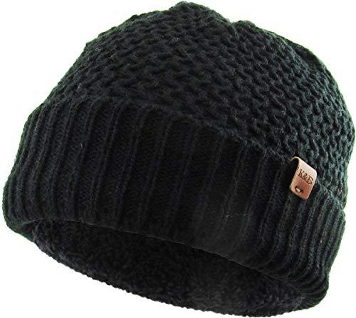 KBW-255 BLK Chunky Crochet Knit Cuffed Beanie With Sherpa Lining Fleece