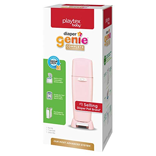Playtex Diaper Genie Complete Diaper Pail, Fully Assembled, with Odor Lock Technology, Includes 1 Pail and 1 Refill, Pink