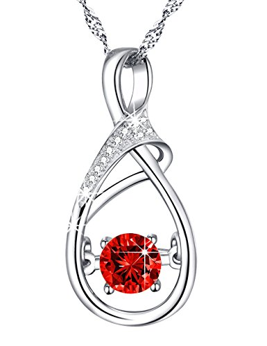 You Are The Only One in My Heart Love Charm Jewelry Red Ruby Necklace Birthday Anniversary Infinity Pendant Gifts for Women Her Wife Sterling Silver Swarovski 18''+2'' Chain by Dorella