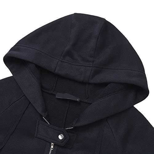 Felpa Bordo Forti Dark Grey Cappotto Solid Lunga Giacca Autunno Giacche Donna E Cappotti Con Outwear Irregolare Taglie Lunghe Comradesn Maniche Nero A Cappuccio qRZIB