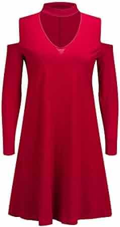 af6e647985ba1c Bewish Women s Choker V Neck Off Shoulder Long Sleeve Swing Hem Casual  Loose Blouse T Shirt