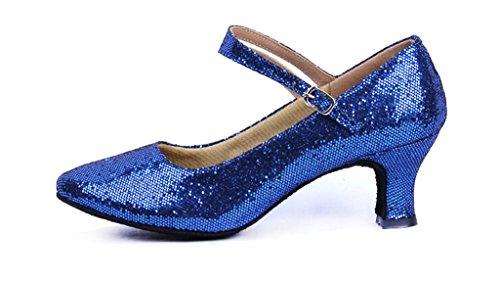 Women's Glitter Latin Ballroom Dance Shoes Pointed-Toe Y Strap Dancing Heels(8.5, Royal)