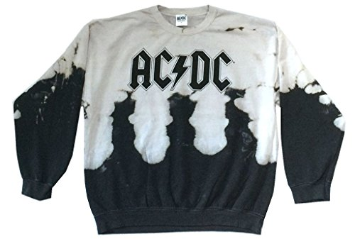 AC/DC Classic Name Logo Acid Bleach Dye Crew Neck Sweatshirt (M) (Bleach Sweatshirt)